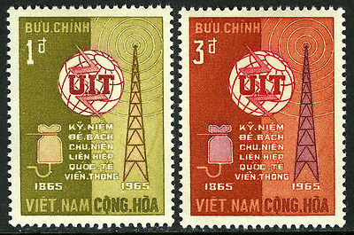 Viet Nam South 253-254, MNH. ITU, cent. Radio tower, equipment, 1965