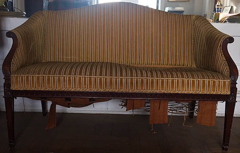 Sofa Small Antique Mahogany Loveseat Settee Camelback Canape Divan AS IS
