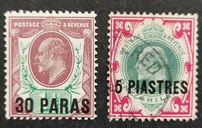 British Levant 1911-13 (stamps of GB, KE V11) 2x stamps schd. mh & used