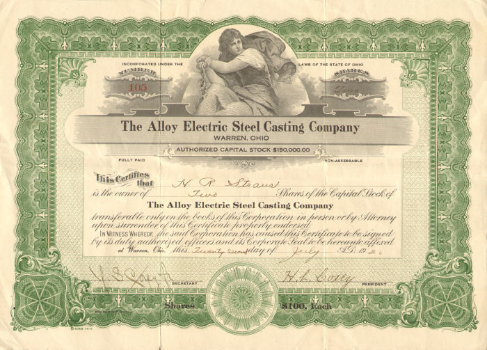 The Alloy Electric Steel Casting Company > Warren Ohio stock certificate share