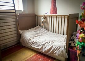 IKEA Leksvik baby cot / toddler bed with pull out drawer, mattress, duvet and bedlinen