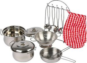 CHILDRENS COOKING SET: pots pans ovengloves metal cookware pretend play NEW