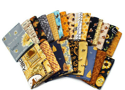 10 Fat Quarters - Assorted Honey Bee Bumblebee Hive Honeycomb FQ Bundle M229.03 for sale  Grand Rapids