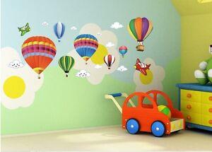 Fun Hot Air Balloons & Aeroplane removable PVC Wall Sticker children's nursery