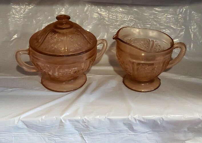 Pink Rose Of Sharon Sugar And Creamer With Lid - Cabbage Rose Depression Glass