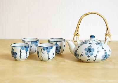 Asiatisches Teeset Japan Style Teekanne Kanne 4 Schalen Teeservice Tassen Tee
