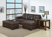 BONDED LEATHER SOFA WITH CHAISE AND OTTOMAN