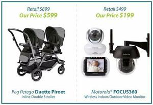 BRAND NEW BABY STROLLERS AND MONITORS UP TO 40% OFF!  PEG DUETTE  -  MOTOROLA FOCUS360