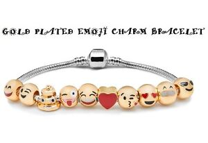 Emoji Charm Bracelet 18ct Yellow Gold Plated 10 CHARMS Beads GREAT GIFT OFFER
