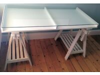 Used white, glass IKEA trestle table (pictured as new)