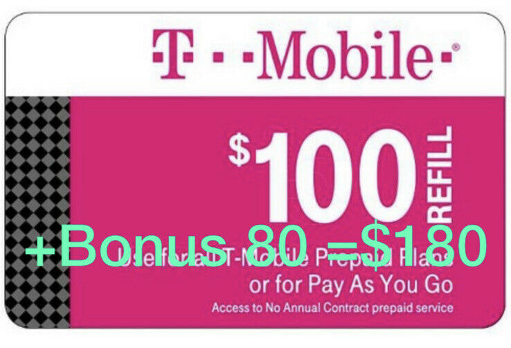T-Mobile Prepaid Refill Card $100 (DIRECT REFILL)  Comes With Bonus $80
