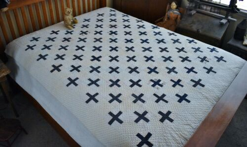 Antique Hand Stitched Blue Cross Quilt