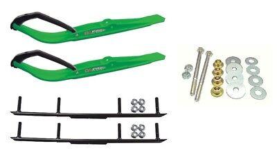 "C&A Pro Green Razor Snowmobile Skis w/ 4"" Round Bars Complete Kit"