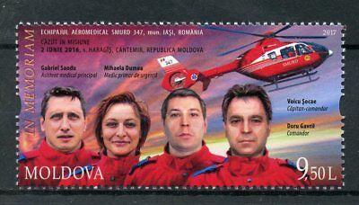 Moldova 2017 MNH SMURD Emergency Service Memorial 1v Set Helicopters Stamps