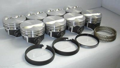 Speed Pro Chevy 350 Hypereutectic Flat Top 2VR Pistons+MOLY Rings 9.7:1 +.030