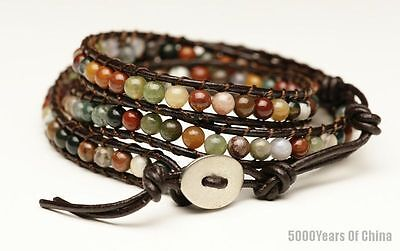3 Wraps *Hot*  India Agate Bead on Brown Leather Bracelet (BL3W-MIX) on Rummage