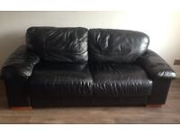 2 Piece BLACK LEATHER SUITE