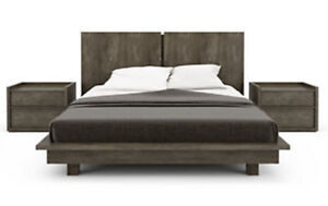 "King-size Luxury Bed Frame ""HUPPE Echo Platform Bed- Anthracite"""