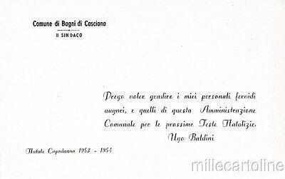 biglietto auguri natalizi il sindaco di bagni di casciana per feste 1953