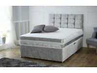 Luxury Silver Crushed Velvet Double Divan Bed and Mattress