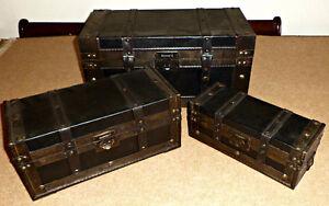 3 Antique style jewelry/storage boxes/mini trunks, brand new