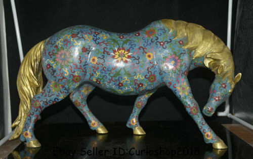 "22.8"" Old Chinese Cloisonne Enamel Copper Feng Shui Zodiac Animal Horse Statue"