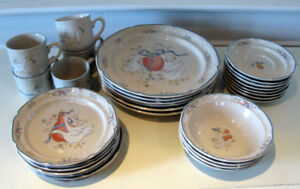 Stoneware Dishes - Vintage - 30 pc