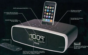 Dual Alarm Stereo Clock Radio for iPhone/iPod w/ Remote