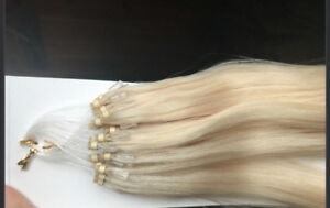 "18"" Micro Bead human hair Hair Extensions. #60 Platinum blonde"