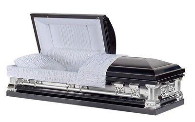 Overnight Caskets Knight Black Casket Brush with Velvet Interior Funeral Coffin
