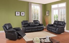 Brand new Designer leather recliner sofa 3+2 Black or Brown FREE DELIVERY