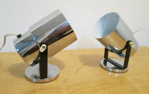 1980s Vintage Table or Wall Mount Adjustable Chrome Lamps -Retro