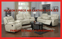 **FREE GIFT EVENT** HUDSON 3 PC AIR LEATHER SOFA SET