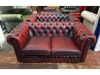 Lovely 2 seater Oxblood Red Chesterfield sofa