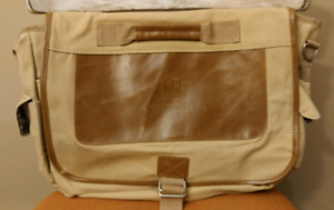 Canvas and Leather Messenger Carryall  Shoulder Bag