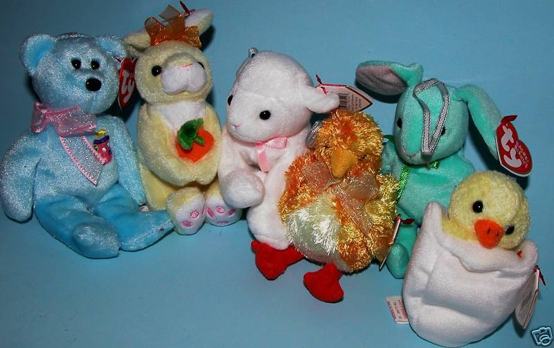 TY, Easter Jingle Beanie, 6 pc. set, bear, lamb, bunny, chicks, New, retired
