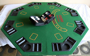 Octagon Folding POKER Table Top w/ Case & Chips! SEE VIDEO