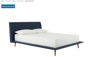 QUEEN MID CENTURY MODERN UPHOLSTERED BED AND FOAM MATTRESS
