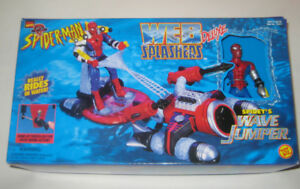 Vintage Spider-Man Web Splashers Action Figures + 1 Vehicle