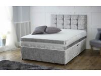 Luxury Silver Crushed Velvet Double Divan Bed and Mattress (Free Delivery)