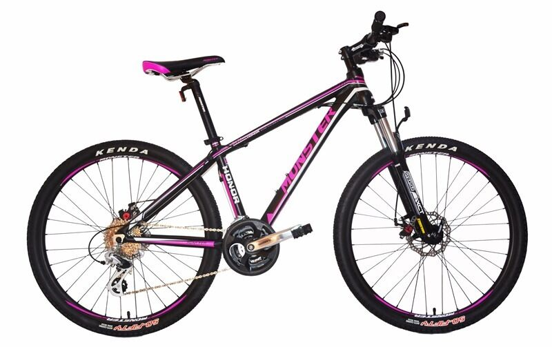 monster mountain bike 26 inch wheels aluminium frame 24 gearsin Swanley, KentGumtree - brand new mountain bike 26 inch wheels aluminium frame suspension front fork 24 shimano gears brake system alloy disc brakes tyres Kenda handle bars aluminium alloy flat bar