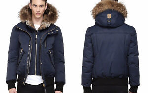 MACKAGE DIXON-F5 NAVY LUXE DOWN BOMBER WITH FUR HOOD size 44