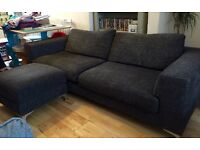Dark Grey 4 seater sofa with footstool