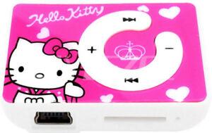Mini lecteur MP3 rechargeable motif Hello Kitty couleur rose