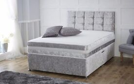 CRUSHED VELVET BED AND MATTRESS SET