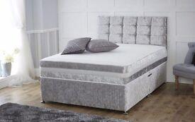 NEW CRUSHED VELVET DOUBLE DIVAN BED SET