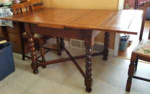 Antique Oak Pub Table with 4 Chairs.