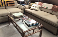 3 piece bamboo and fabric couch/loveseat/table