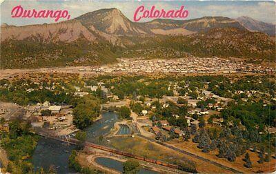 Animas Valley Birdseye View Durango Colorado 1950s Postcard Petley (Animas Valley)