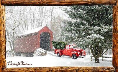 (Country Christmas) sign, plaque, wall decor, holidays, snow, truck, tree,bridge